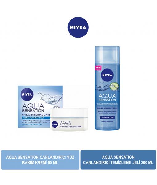 Nivea Aqua Sensation Canlandırıcı Yüz Bakım Kremi 50 ml & Nivea Aqua Sensation Canlandırıcı Temizleme Jeli 50 ml