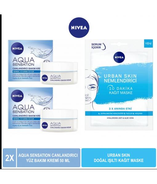 Nivea Aqua Sensation Canlandırıcı Yüz Bakım Kremi 50 ml x2 & Nivea Urban Skin Nemlendirici Kağıt Maske