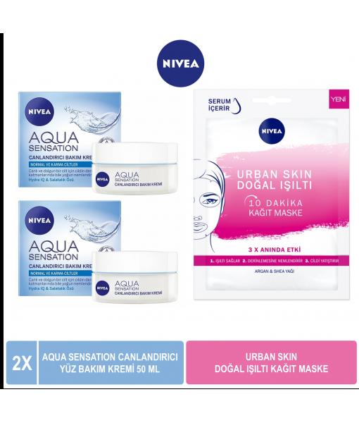 Nivea Aqua Sensation Canlandırıcı Yüz Bakım Kremi 50 ml x2 & Nivea Urban Skin Doğal Işıltı Kağıt Maske